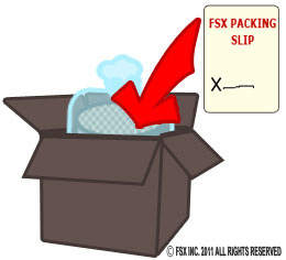 Put FSX packing slip in box